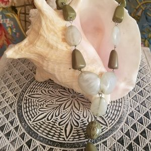Green Tone Stone Drop Necklace